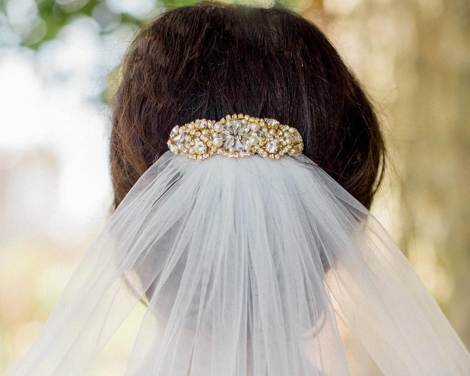 Gold Rhinestone & Pearl Appliqué Wedding Hair Clip Tula