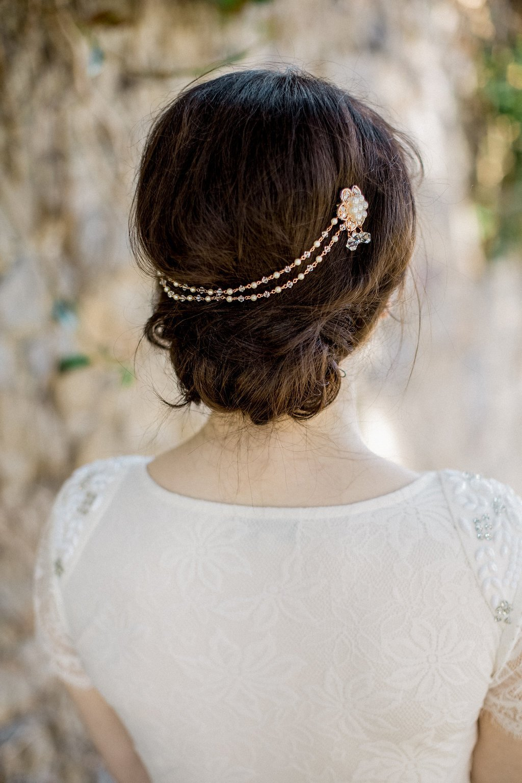 Rose Gold Draped Crystal & Pearl Hair Adornment, Venice