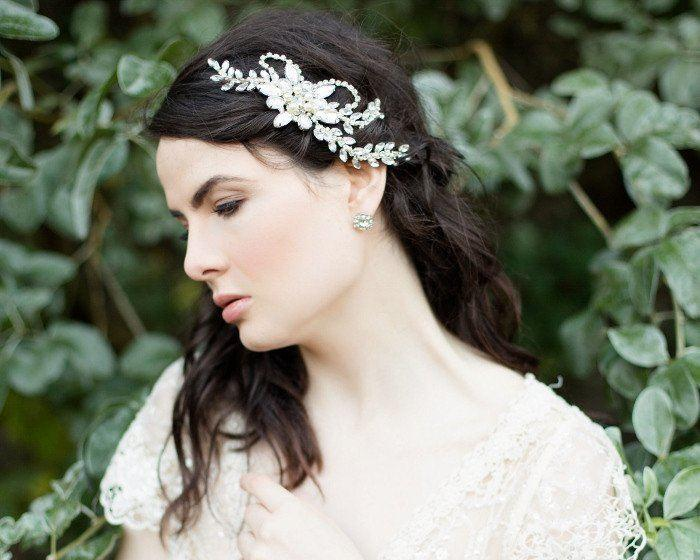 Vintage Side Headpieces - Chic Statement Wedding Headpiece, Pearls & Swarovski Crystals, Dahlia