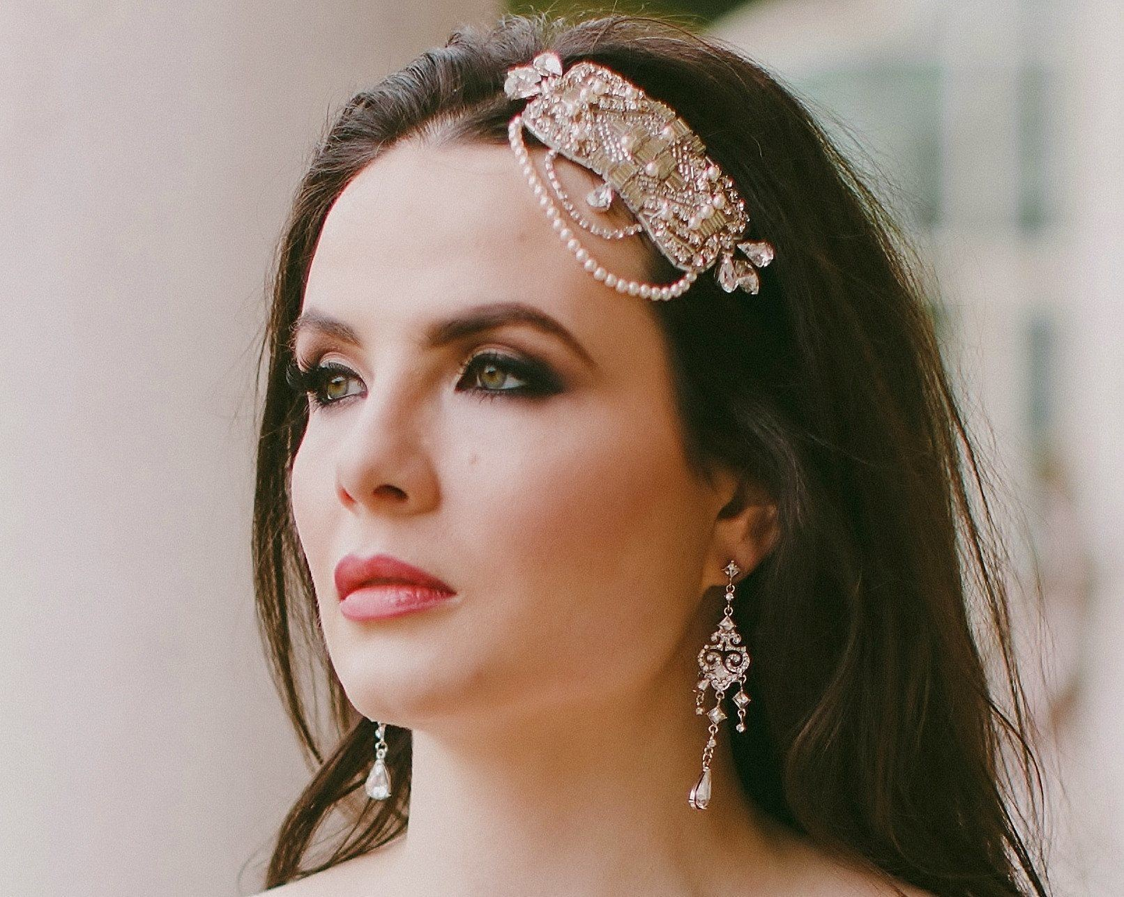 Vintage Side Headpieces - Embellished Appliqué Headband, Lauren