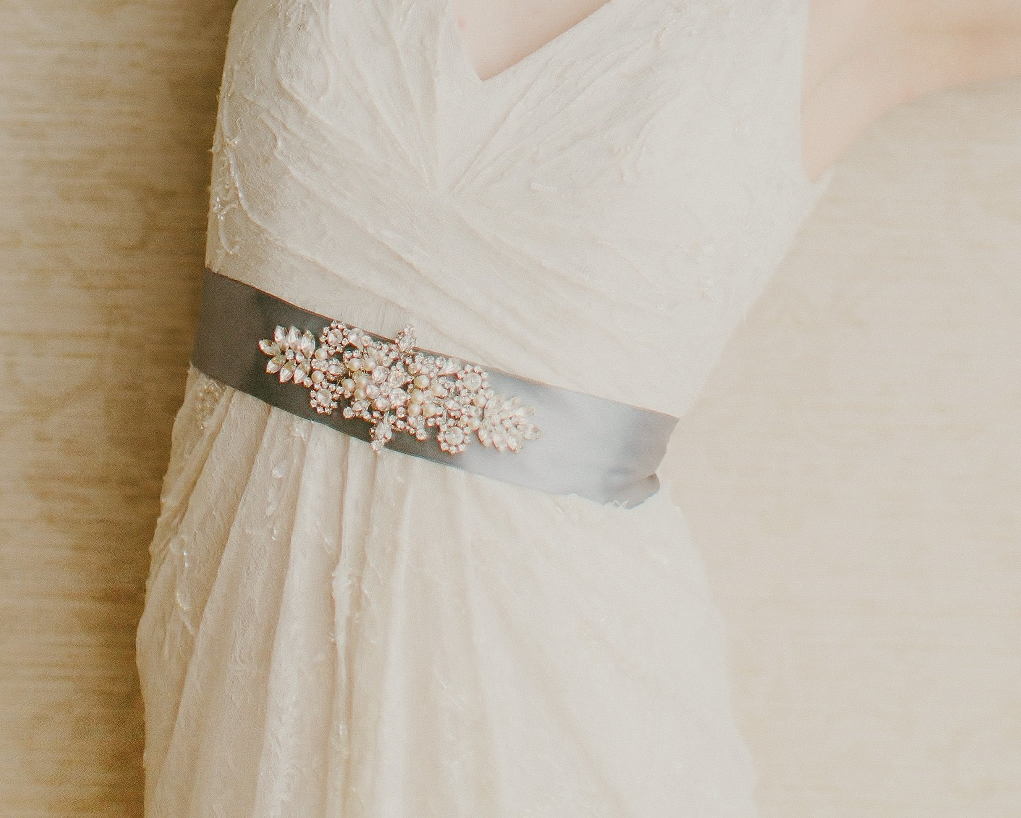 Vintage Side Headpieces - Hand Embellished Wedding Gown Sash, Giorgia
