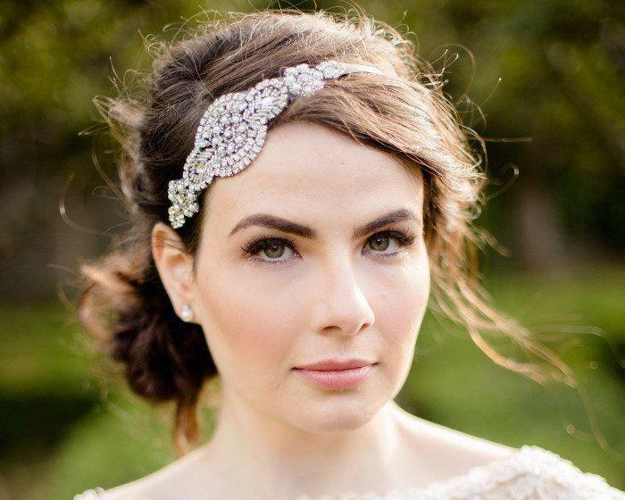 Vintage Side Headpieces - Rhinestone Appliqué Wedding Headband, Zara