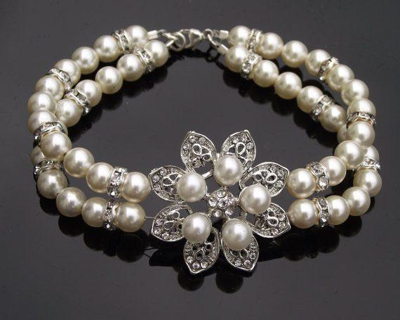 Wedding Bracelets - Mini Flower Style Pearl Bridal Bracelet, Alyson Mini
