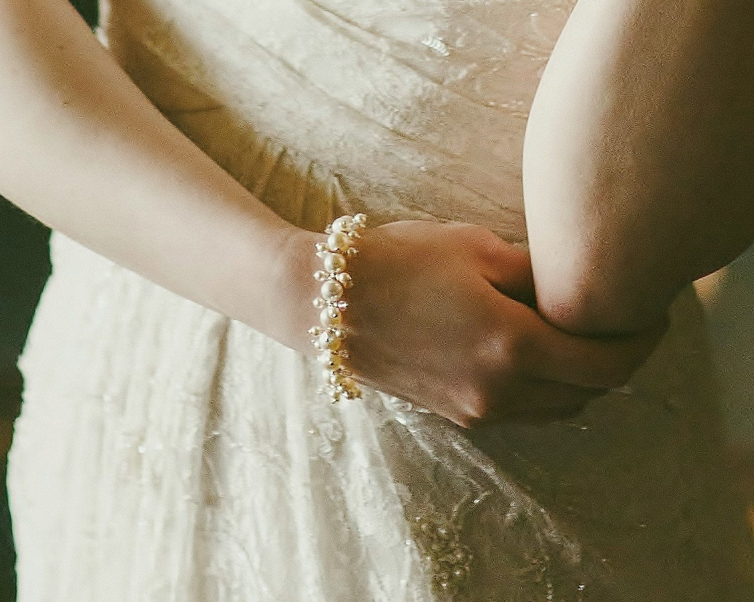 Wedding Bracelets - Pearl And Crystal Cluster Bracelet, Victoria