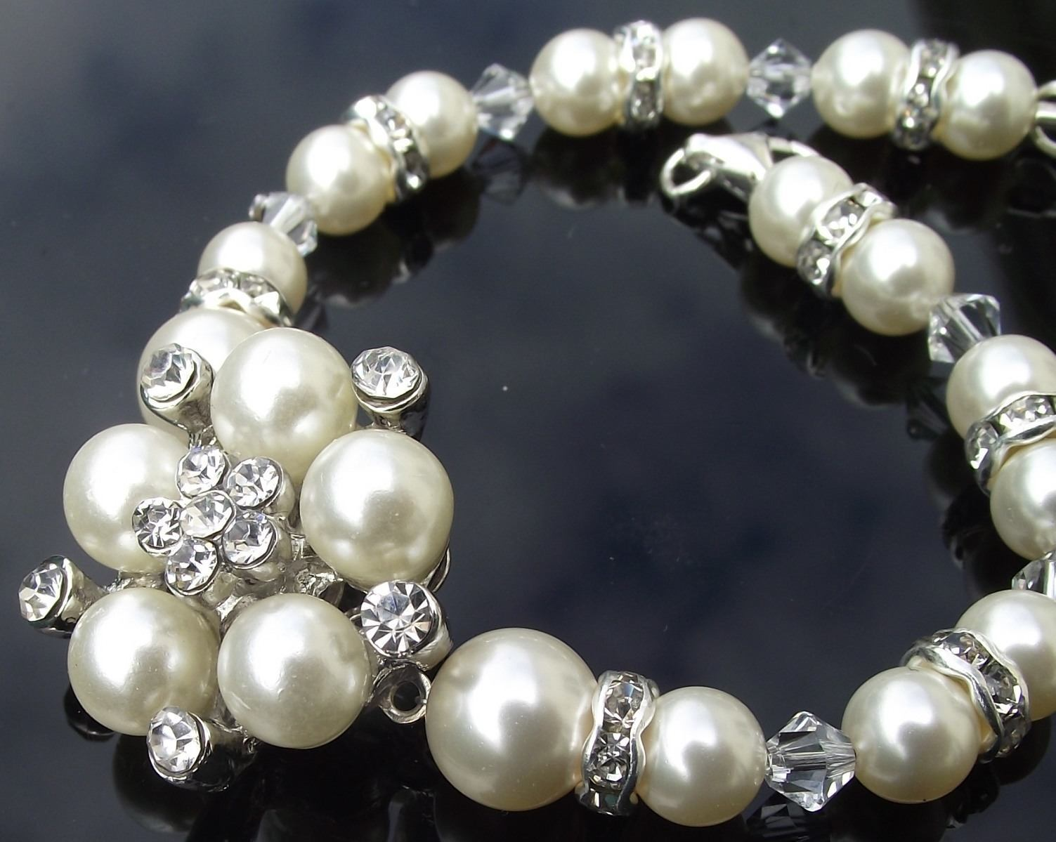 Wedding Bracelets - Pearl Flower & Crystal, Wedding Bracelet, Meredith Mini