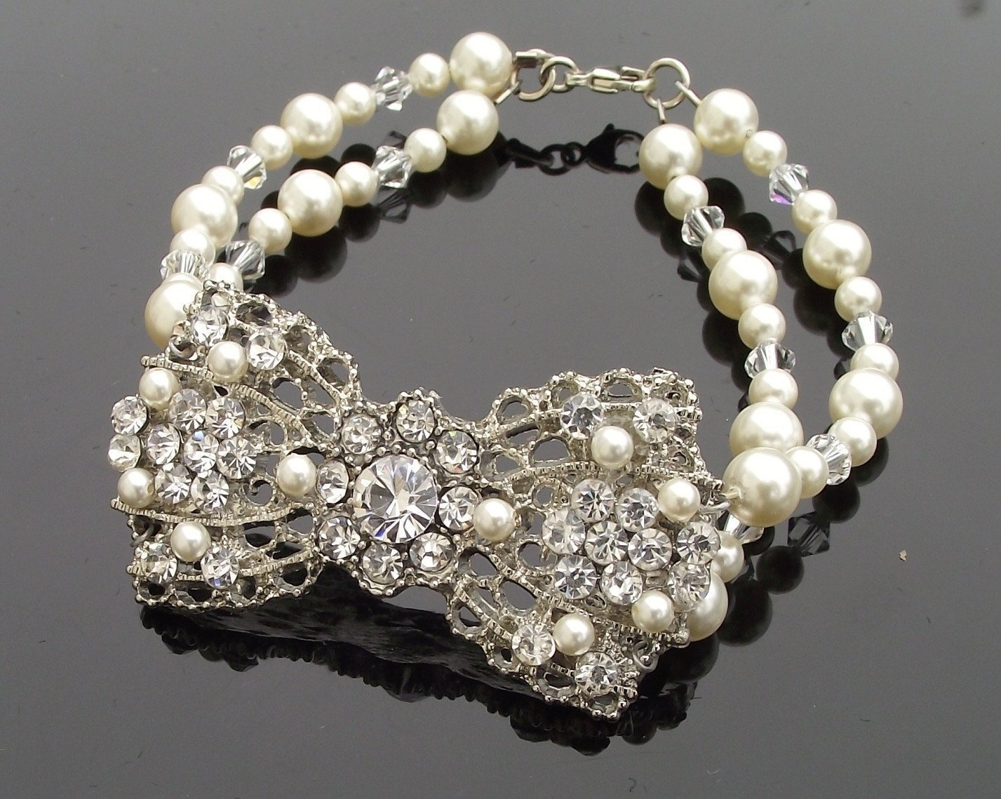 Wedding Bracelets - Pretty Bow Shaped Pearl & Crystal Wedding Bracelet, Simone