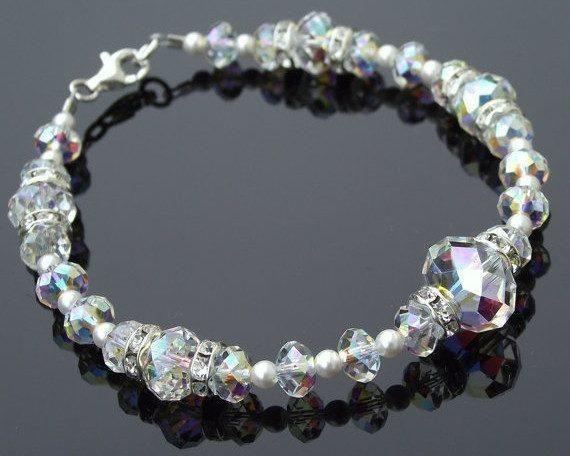 Wedding Bracelets - Swarovski Crystal And Pearl Statement Bracelet, Moet