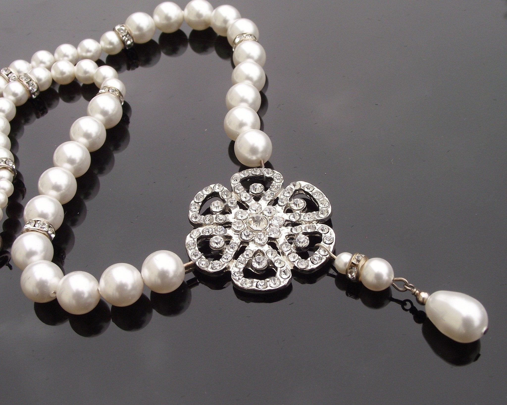 Wedding Bracelets - Vintage Inspired Pearl & Crystal Necklace, Phoebe