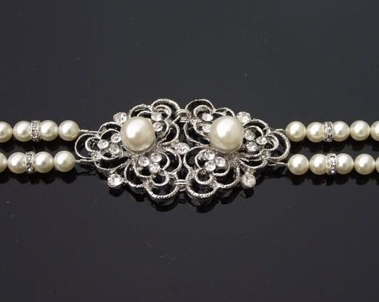 Wedding Bracelets - Vintage Inspired Rhinestone And Pearl Bracelet, Eve