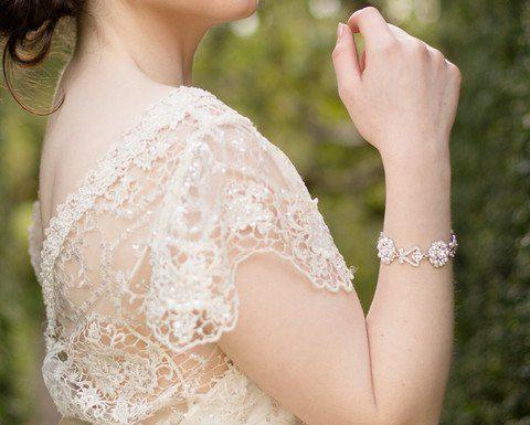 Wedding Bracelets - Wedding Pearl And Crystal Bracelet, Athena