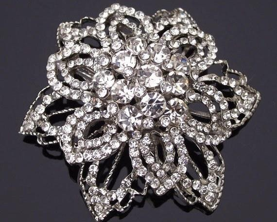 Wedding Brooches - Antique Style Brooch With Swarovski Rhinestones & Crystals, Trinny-C