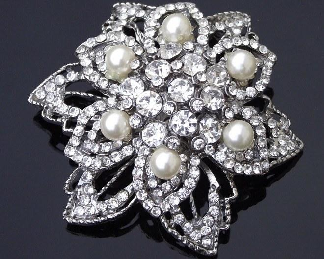 Wedding Brooches - Art Deco Style Crystal And Pearl Brooch, Trinny-P