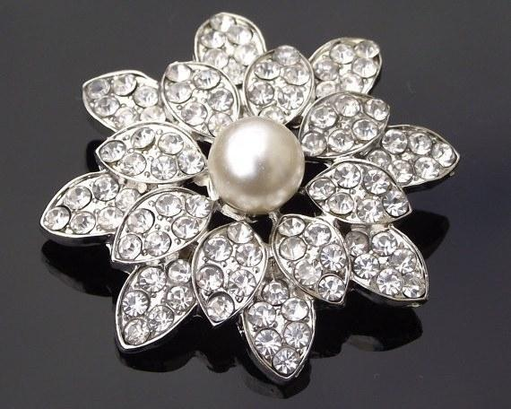Wedding Brooches - Beautiful Vintage Style Pearl Brooch, Rowena