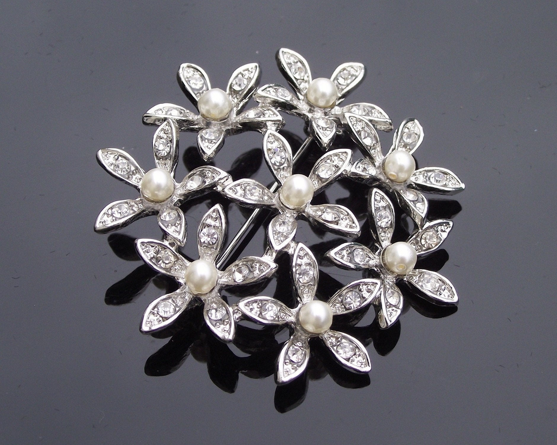Wedding Brooches - Floral Pearl & Crystal Brooch, Orchid