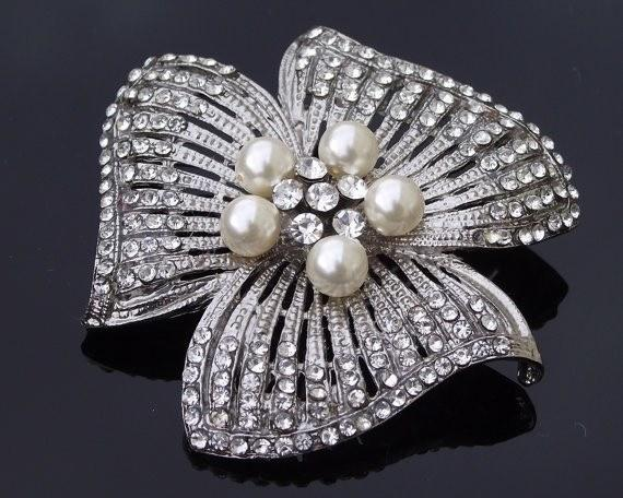 Wedding Brooches - Gorgeous Vintage Pearl Petal Wedding Brooch, Jessica-P