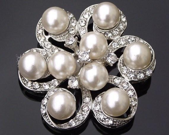 Wedding Brooches - Nine Ivory Pearls & Crystal Brooch Or Hair Clip, Naomi