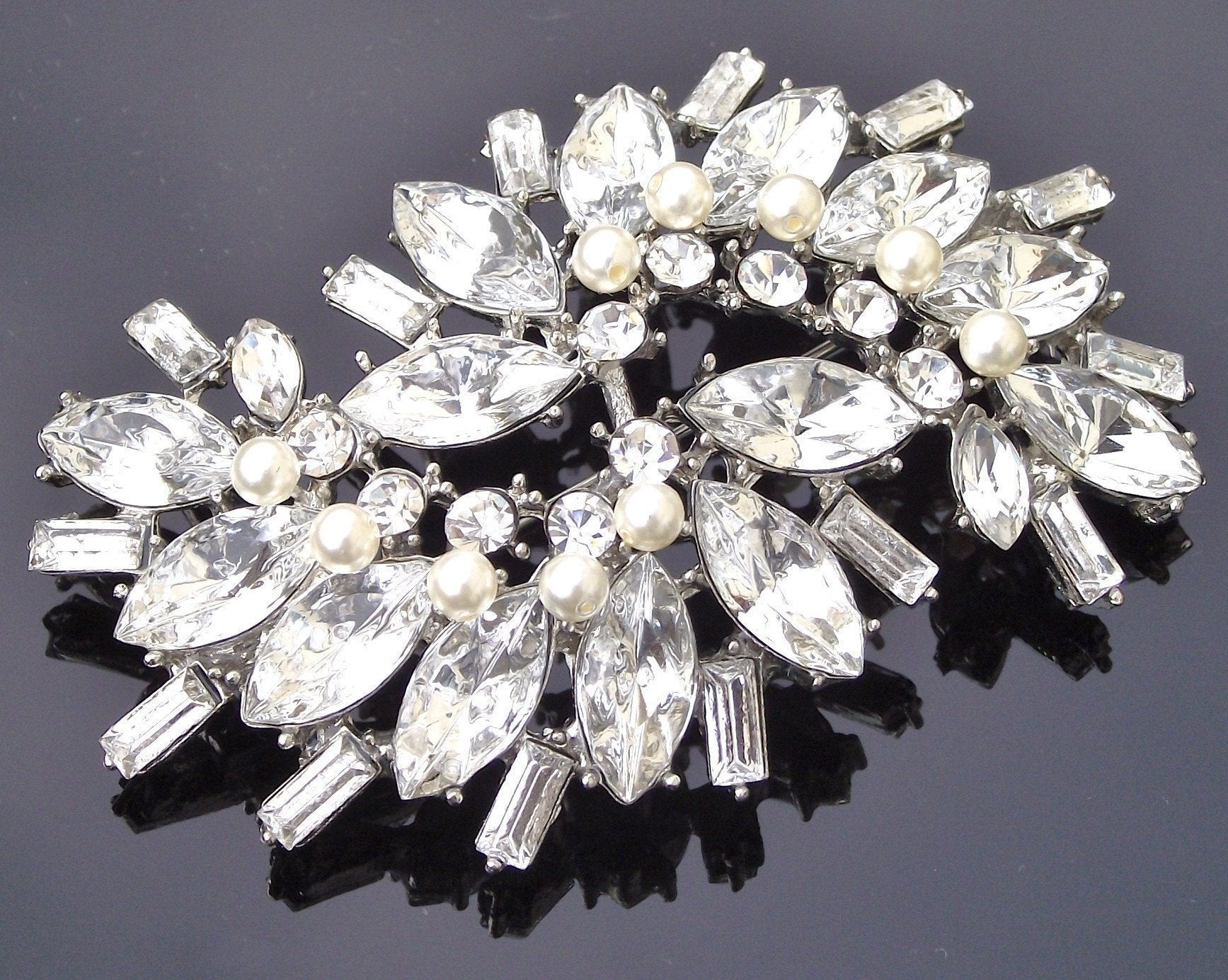 Wedding Brooches - Rhinestone, Crystal And Ivory Pearl Vintage Style Brooch, Robyn