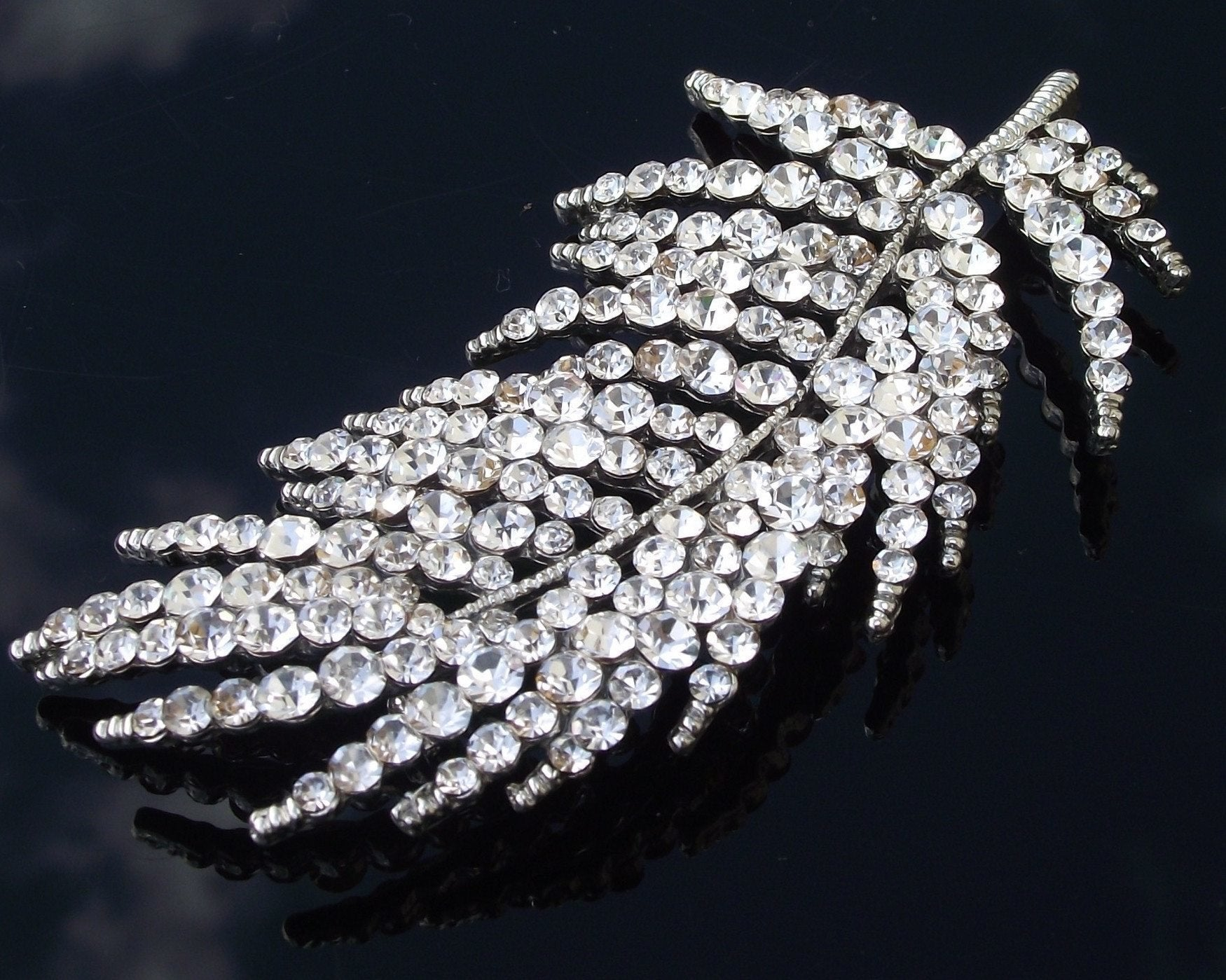 Wedding Brooches - Rhinestone Crystal Leaf Or Feather Style Brooch Pin, Trish