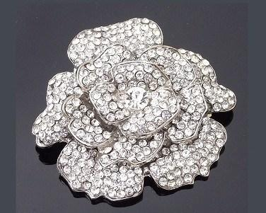 Wedding Brooches - Rhinestone Crystal Rose Floral Brooch, Elaine