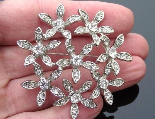 Wedding Brooches - Rhinestone Floral Filigree Brooch, Sarah