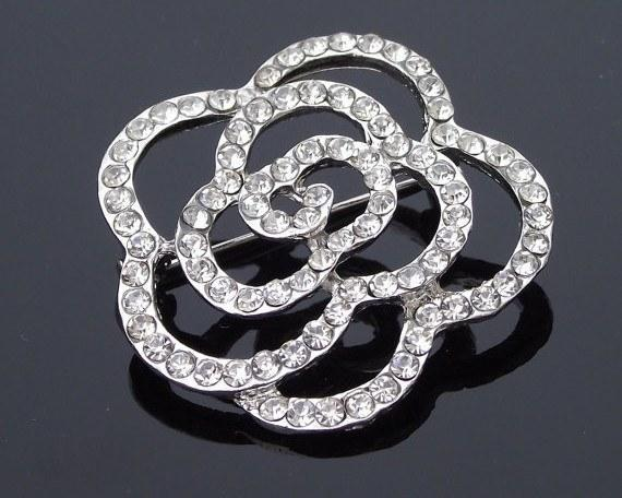Wedding Brooches - Rhinestone Rose Brooch Pin, Fleur