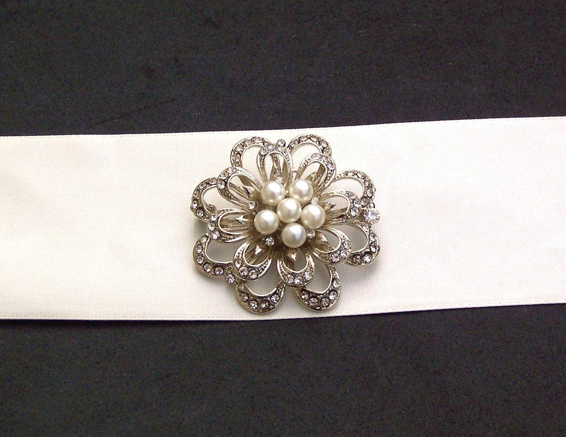 Wedding Brooches - Vintage Inspired Pearl Brooch, Danielle