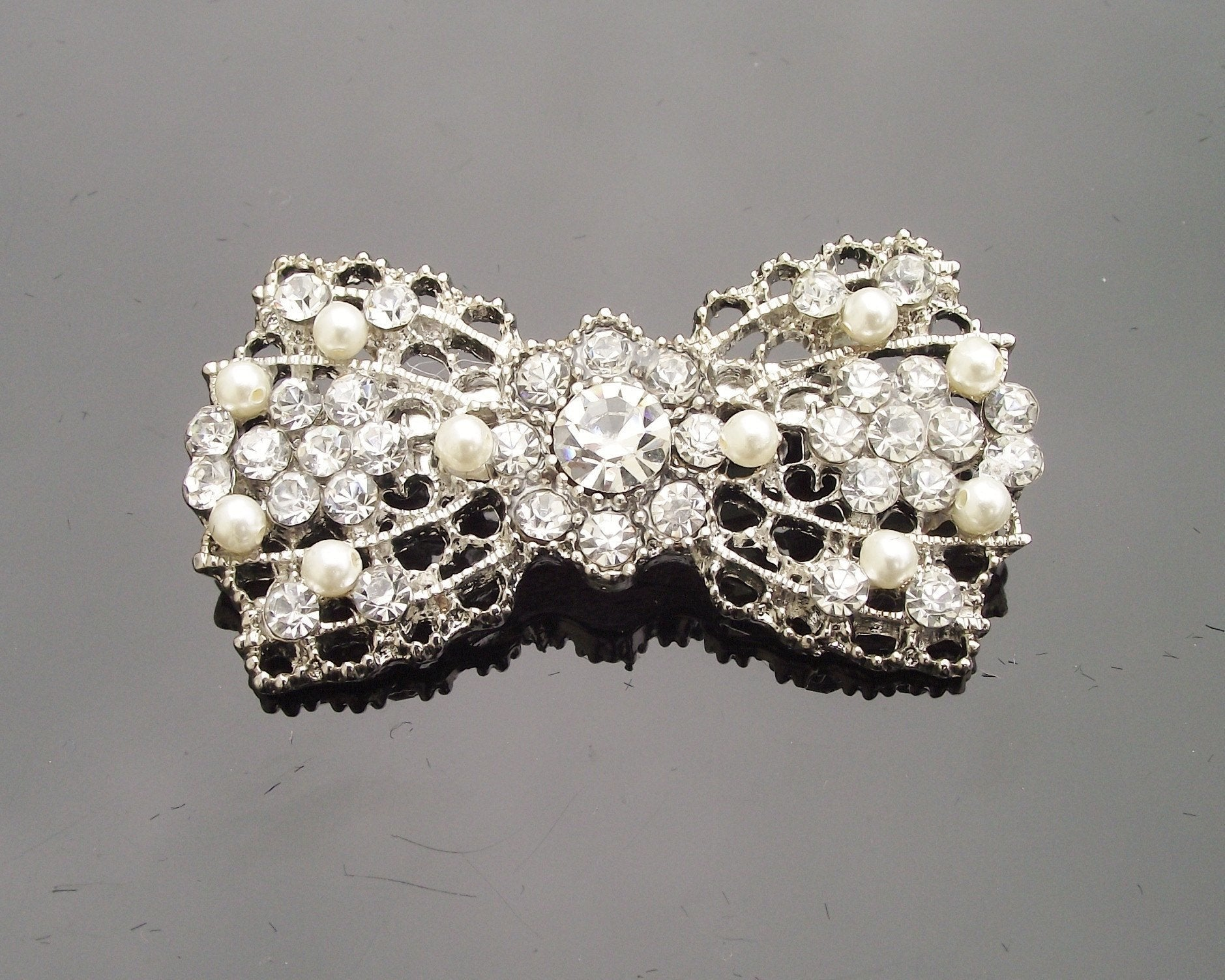 Wedding Brooches - Vintage Style Crystal And Pearl Bow Brooch, Simone