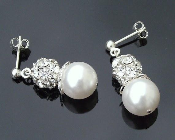 Wedding Earrings - Beautiful Pearl & Crystal Encrusted Drop Earrings, Joy