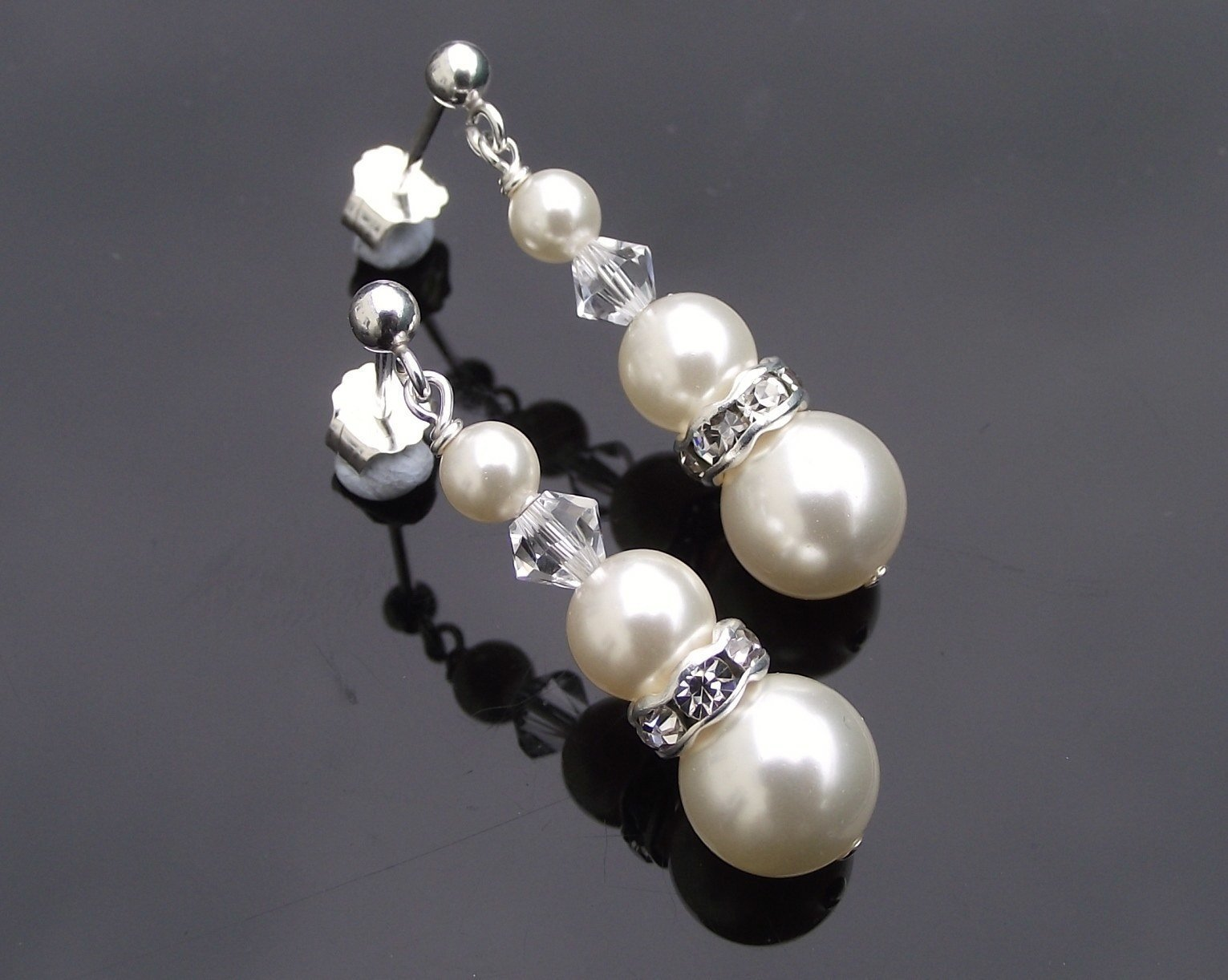 Wedding Earrings - Bridesmaids Drop Crystal And Pearl Earrings, Meredith-Mini