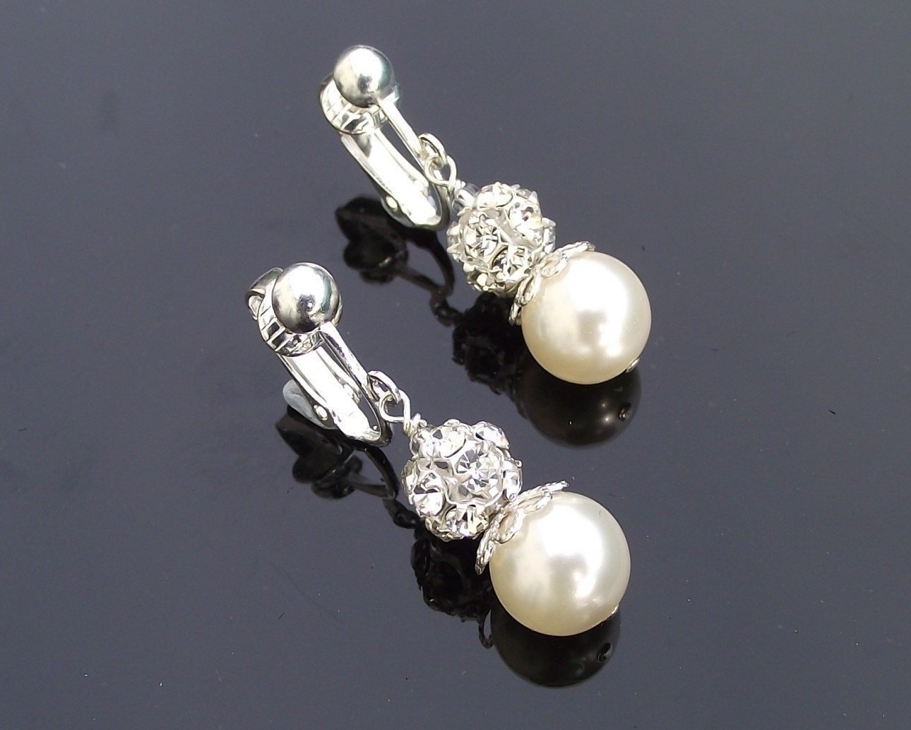 Wedding Earrings - Clip-on Beautiful Pearl & Crystal Encrusted Drop Earrings, Joy