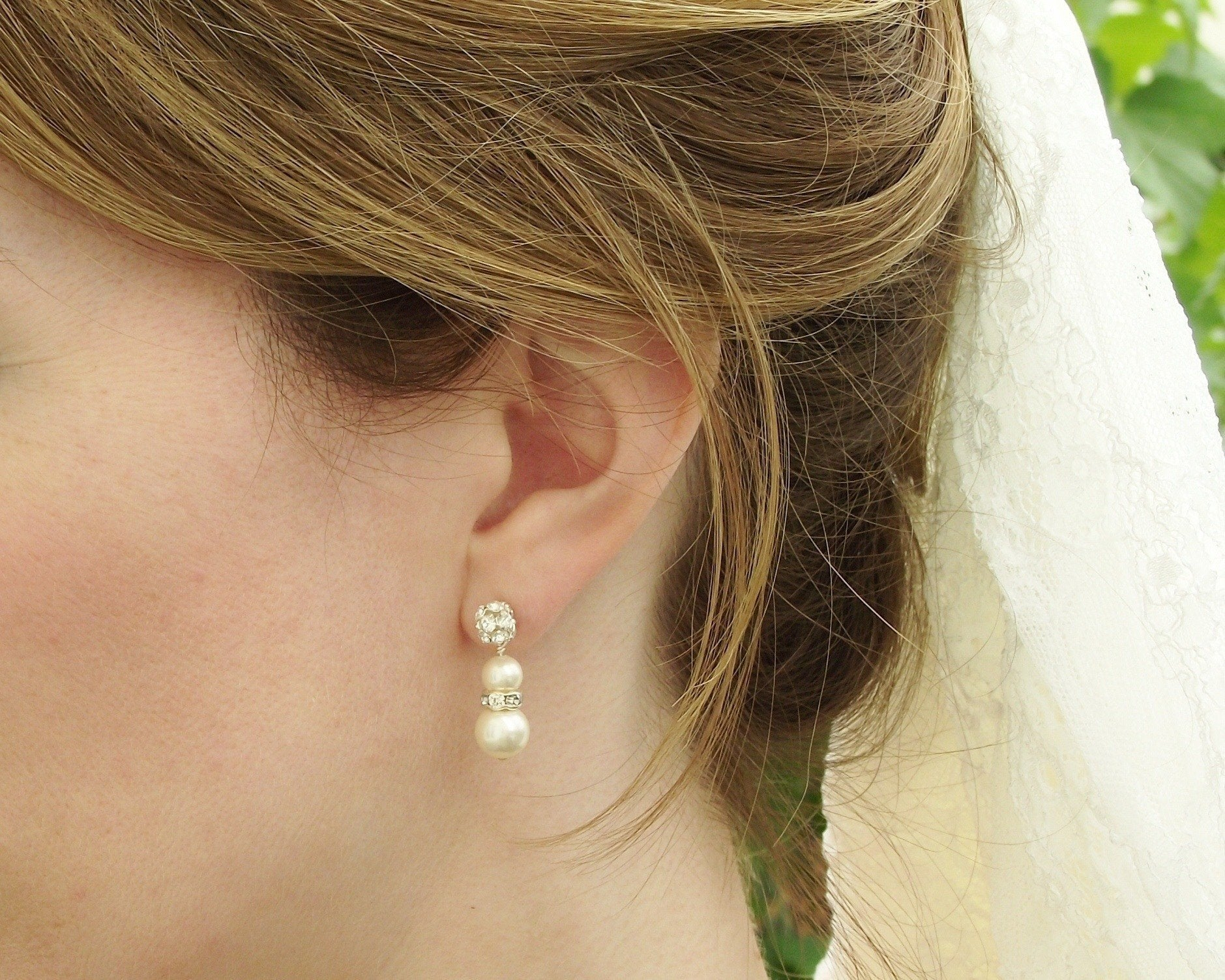 Wedding Earrings - Crystal Encrusted Pearl Drop Earrings, Sorrento