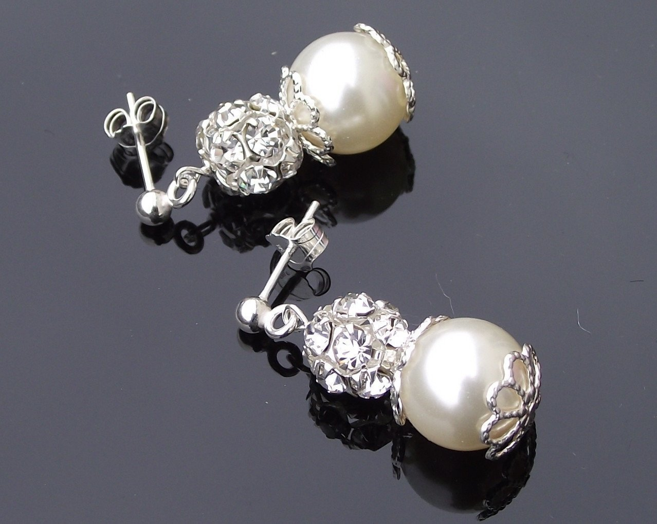 Wedding Earrings - Crystal Encrusted Wedding Pearl Earrings, Filigree Style, Monroe