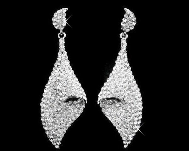 Wedding Earrings - Crystal Twist Drop Earrings, Creme