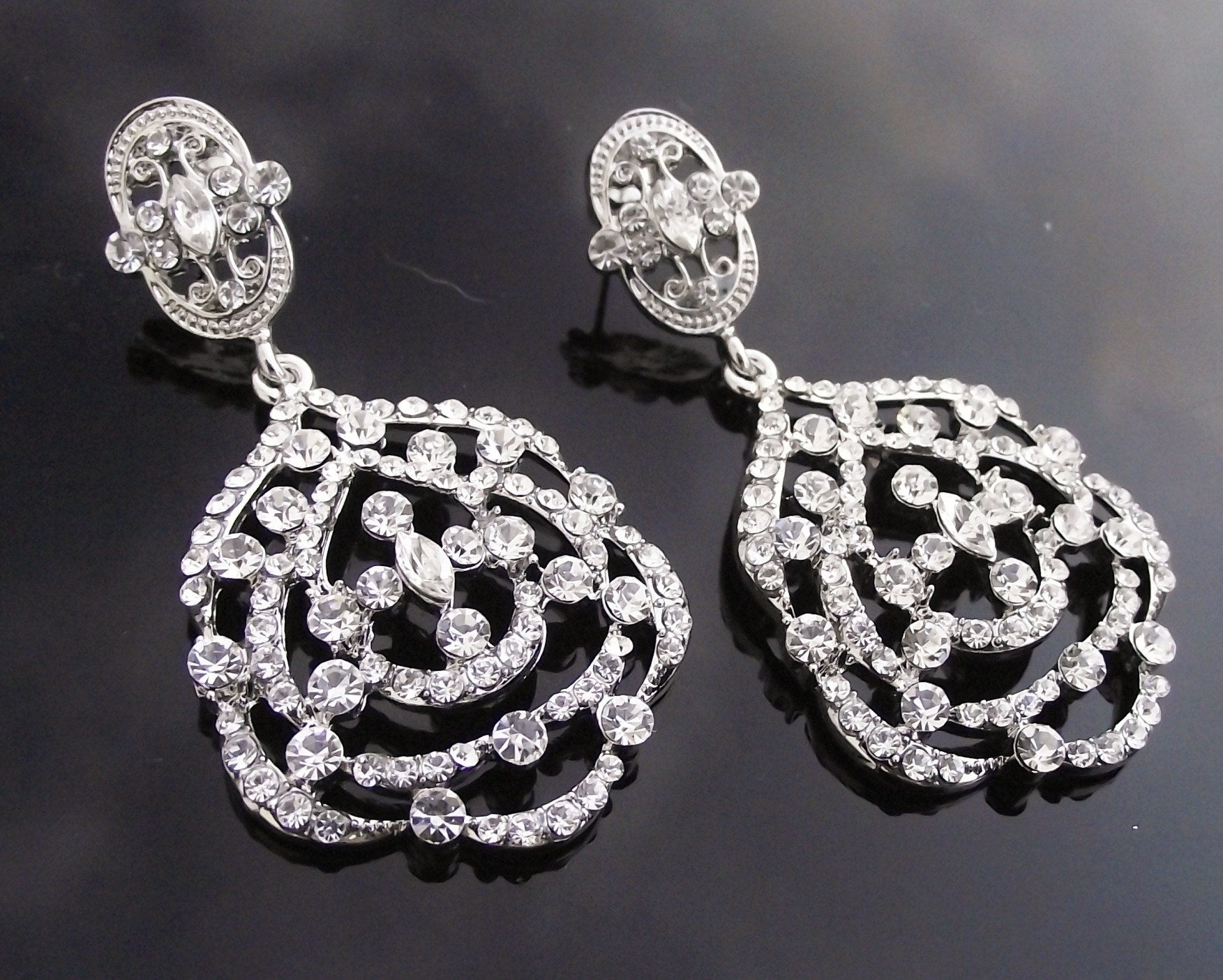 Deco style silver earrings crystal chandelier style sabrina wedding earrings deco style silver earrings crystal chandelier style sabrina arubaitofo Choice Image