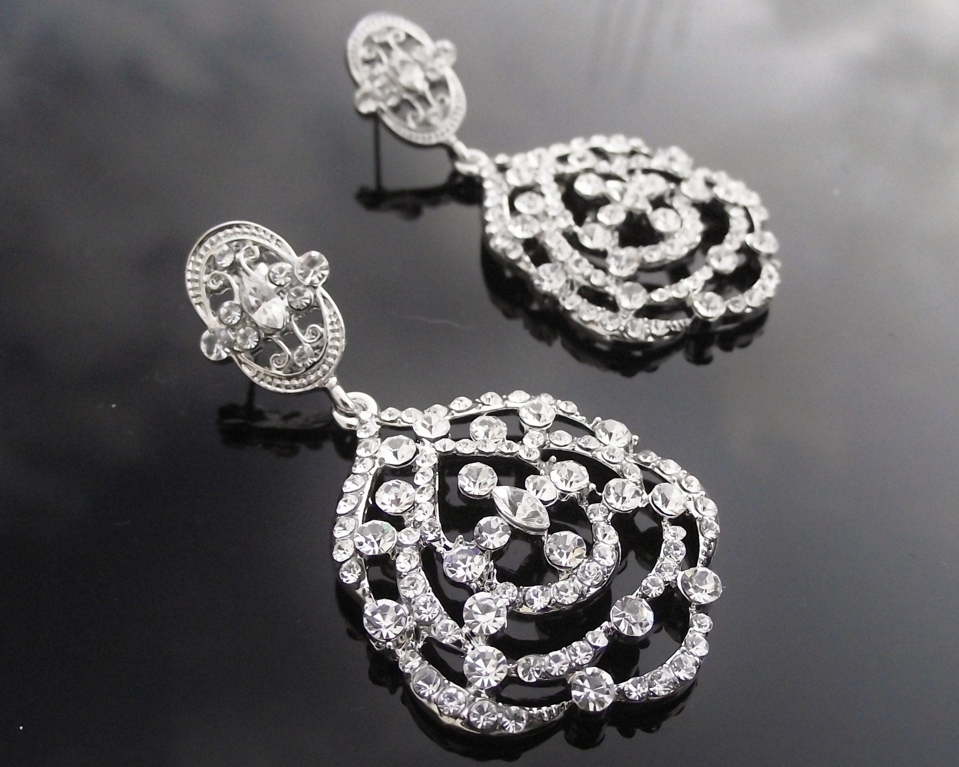 Deco Style Silver Earrings, Crystal Chandelier Style, Sabrina ...