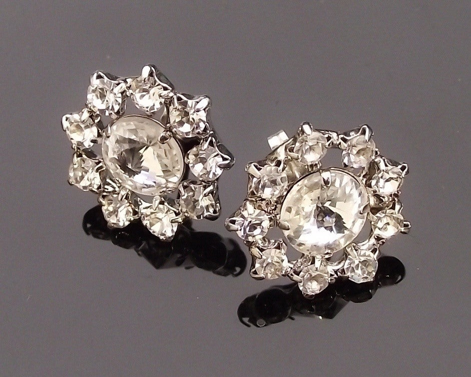 art stud earrings deco rhinestone wedding bridal antique jewelry vintage media style silver rita