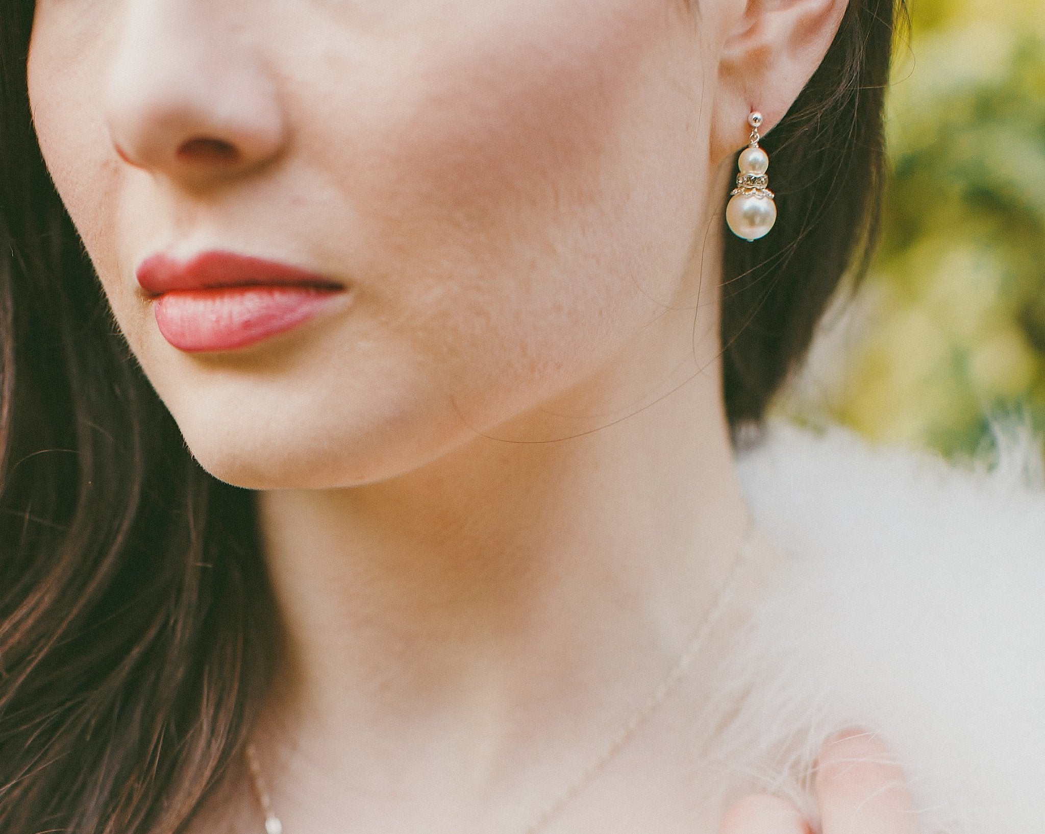 Wedding Earrings - Double Drop Pearl Earrings, As Seen In VIP Rugby Wedding, Nicole