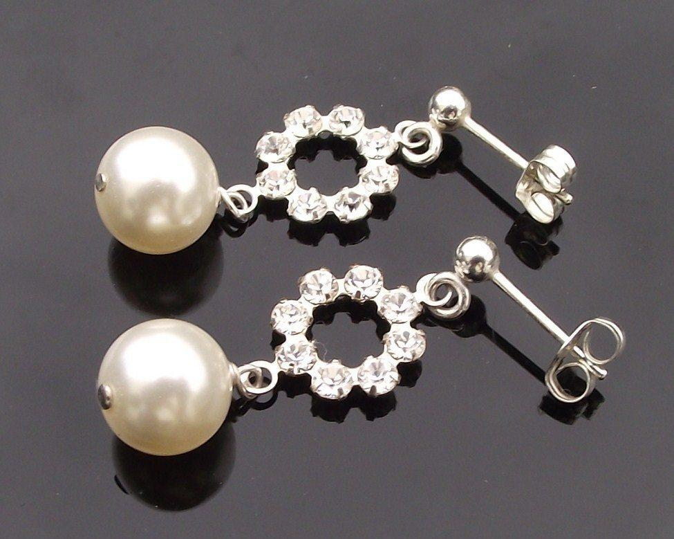Wedding Earrings - Elegant Pearl And Rhinestone Crystal Drop Earrings, Miranda