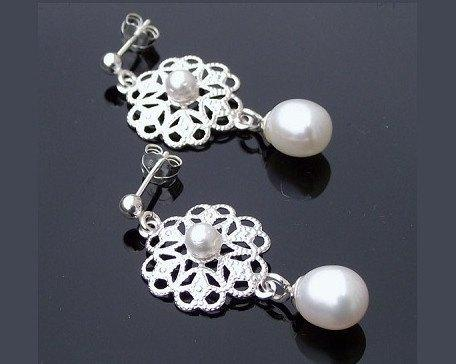 Wedding Earrings - Filigree Style Silver Earrings, Drop Pearl Earrings, Marilla