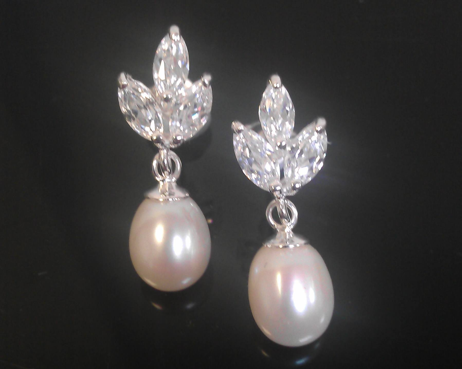 ... Wedding Earrings - Floral Crystal With Freshwater Pearl   Sterling  Silver Earrings 83a4bf4aa04e