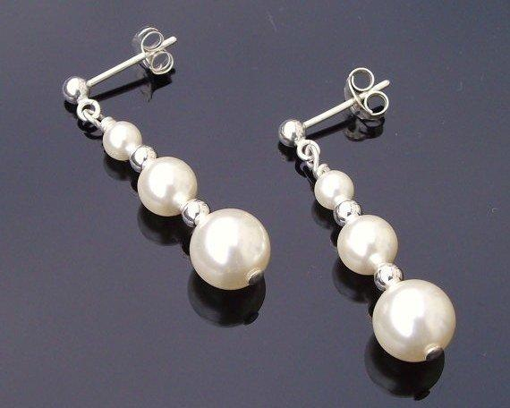 Wedding Earrings - Graduated Swarovski Pearl Drop Earrings, Classic