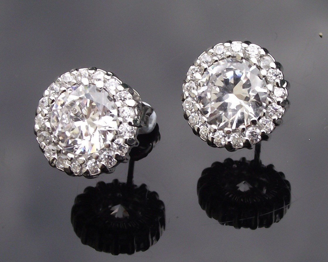 Wedding Earrings - Pave Set Crystal Stud Earrings, Alanna