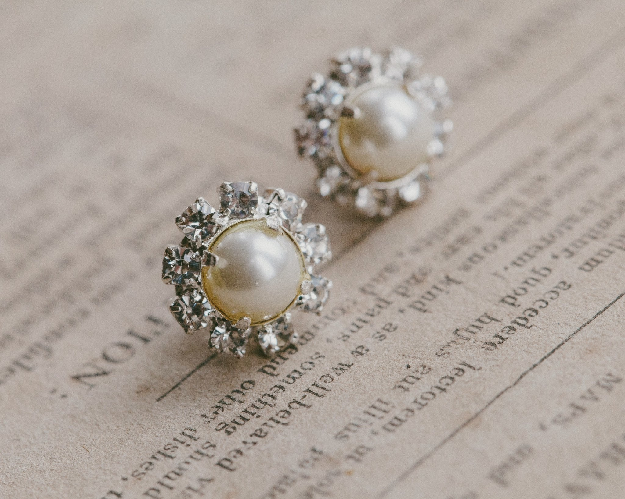 Wedding Earrings - Pearl & Crystal Stud Earrings, Prague