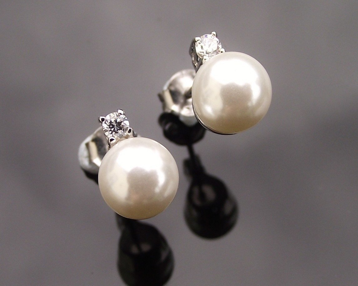 Wedding Earrings - Pearl Stud Earrings, Lille