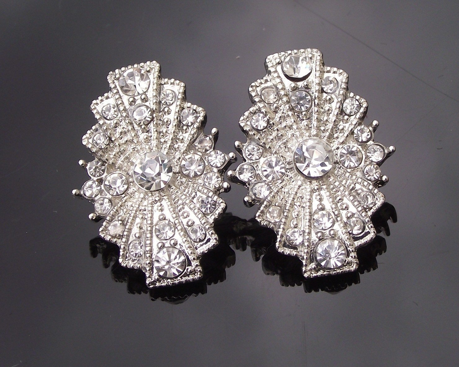 Wedding Earrings - Rhinestone Stud Earrings, Art Deco Style, Angela