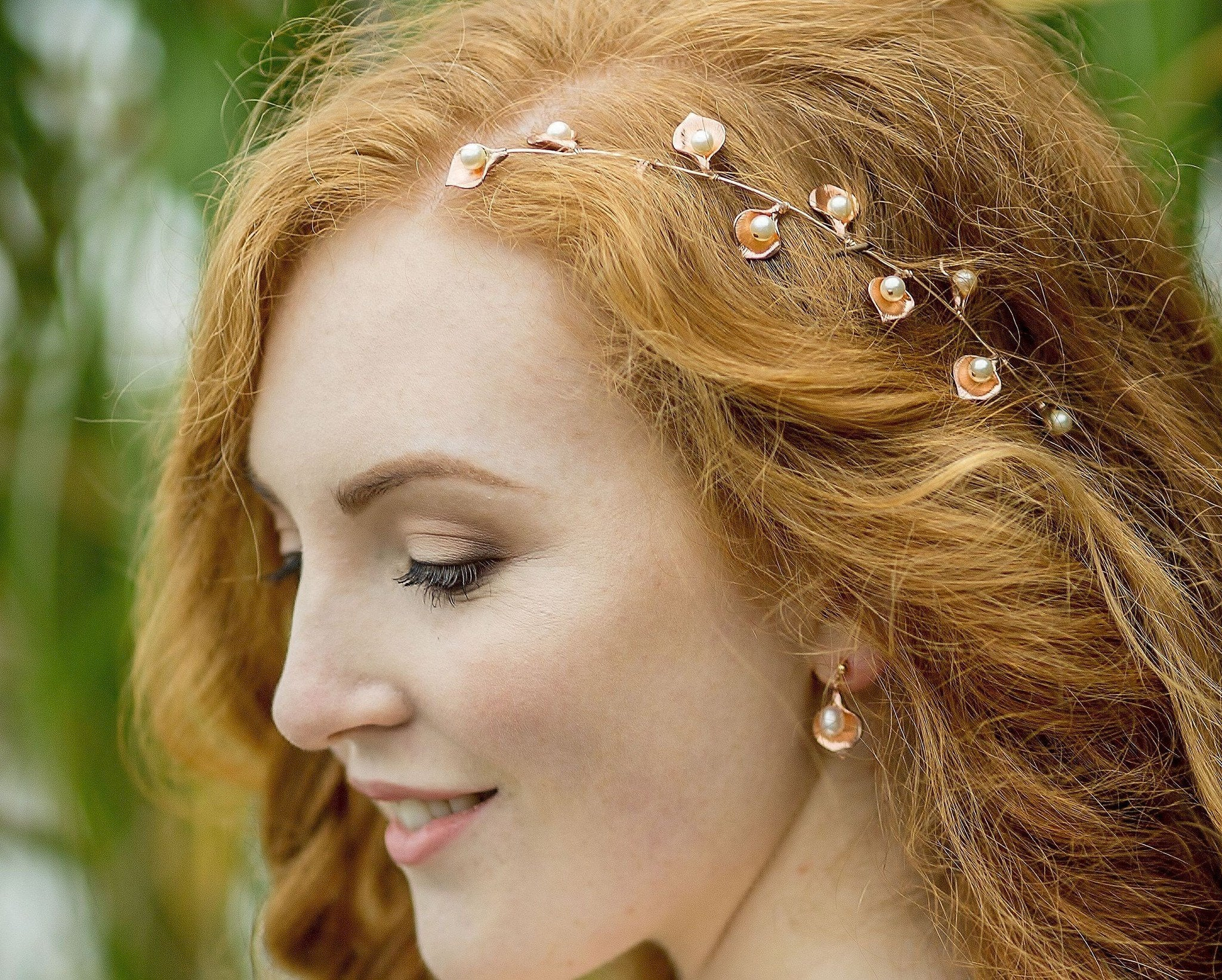 Wedding Earrings - Rose Gold Leaf & Pearl Earrings, Rose Forest