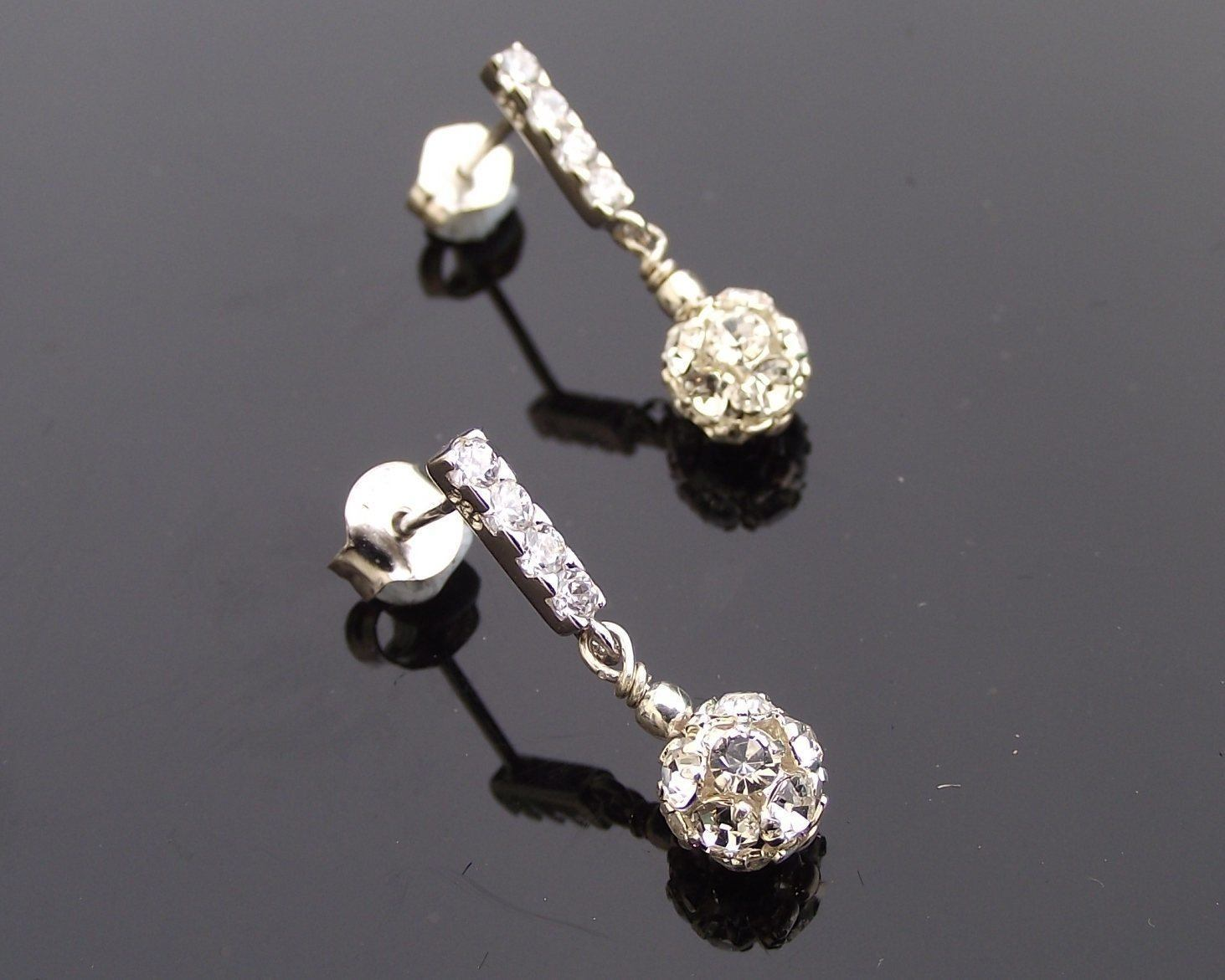 Wedding Earrings - Silver Crystal Encrusted Drop Earrings, Marseille