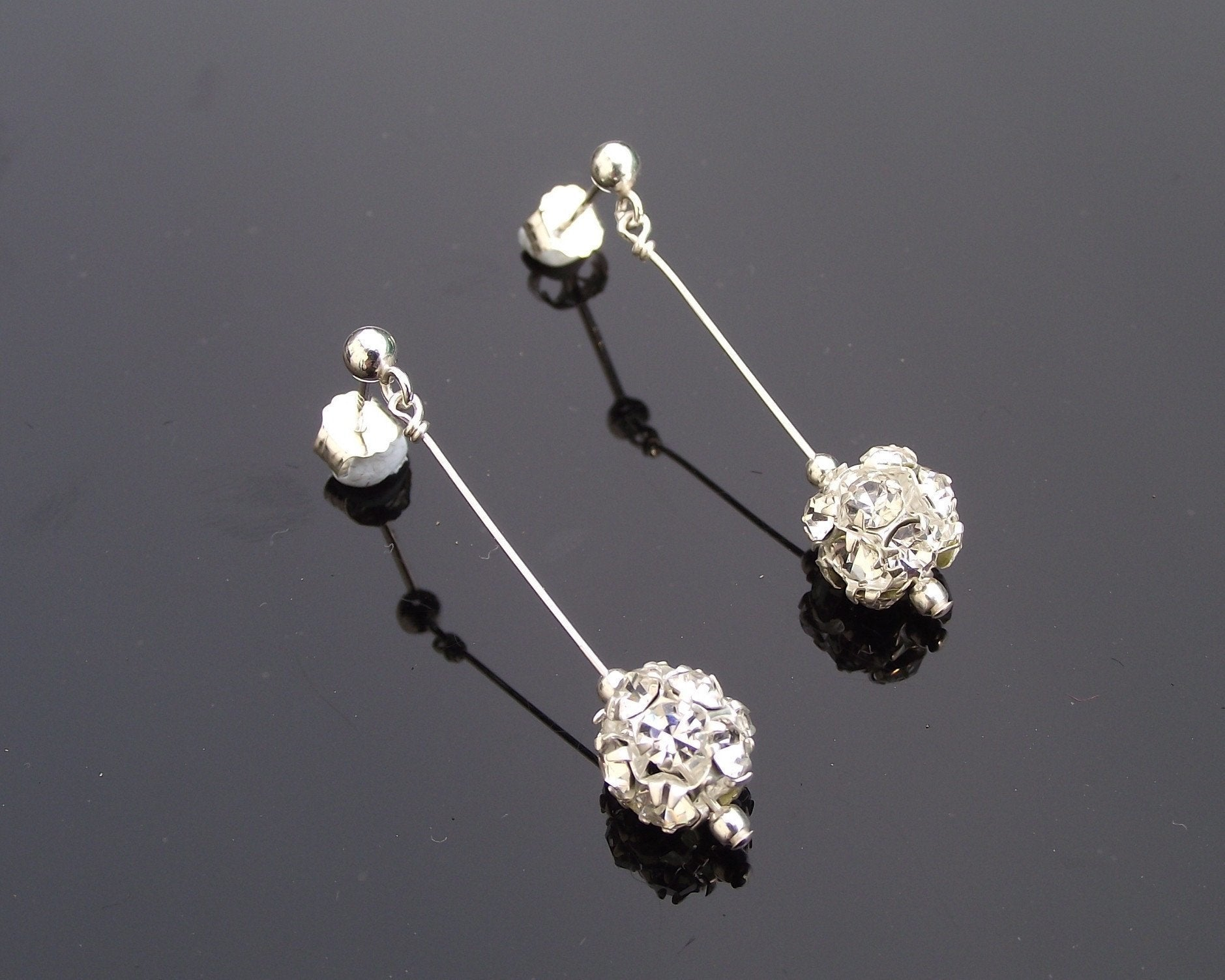 Wedding Earrings - Silver Crystal Encrusted Drop Earrings, Siena