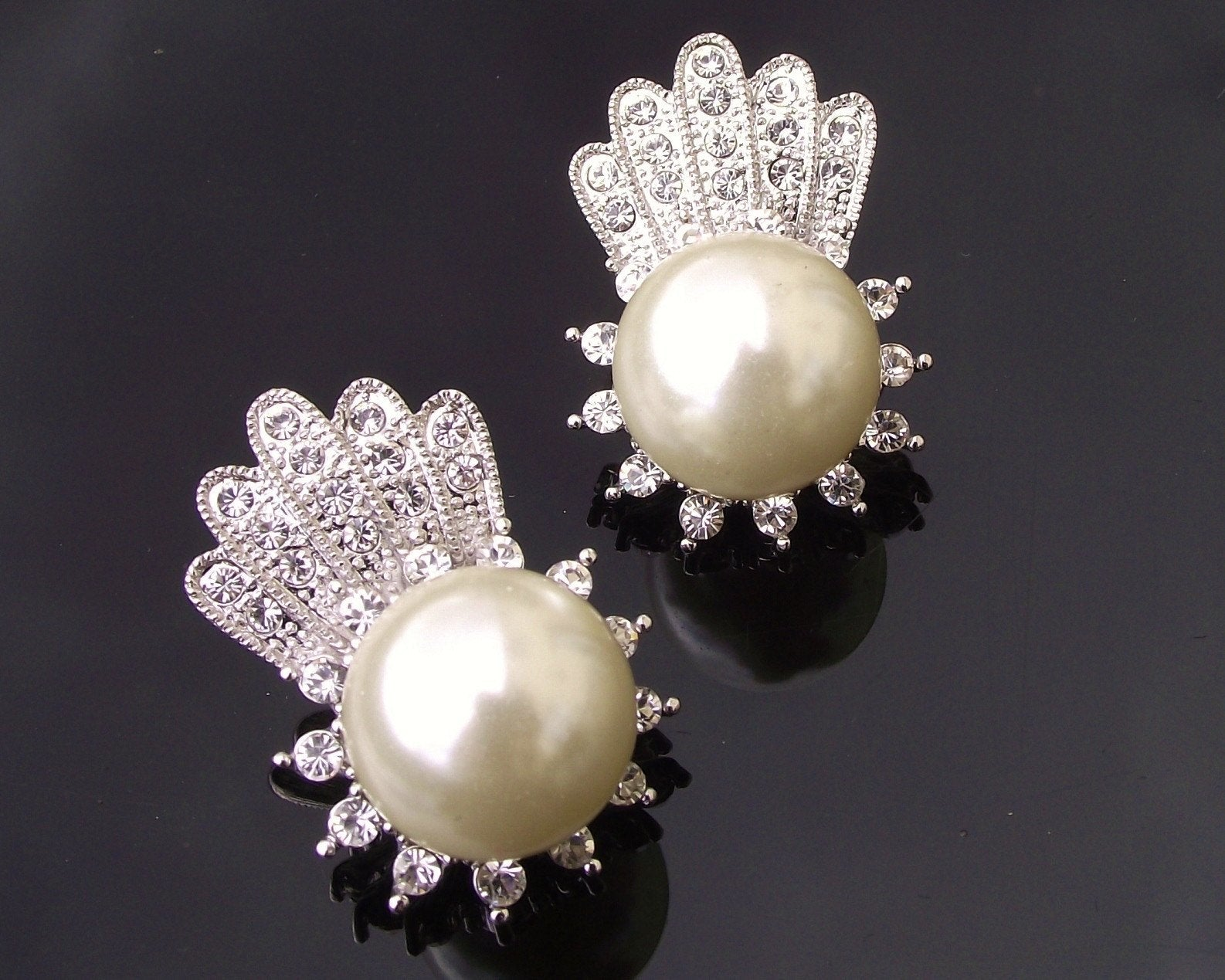 Wedding Earrings - Stud Style Pearl & Crystal Earrings, Cameron