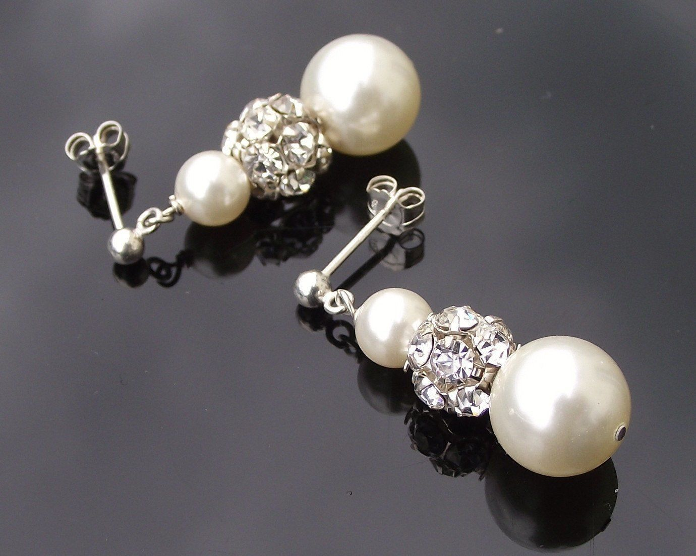 Wedding Earrings - Swarovski Pearl & Crystal Drop Earrings, Loretta